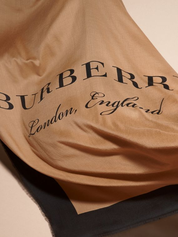 Camel/black Burberry Print Cashmere Scarf - cell image 3