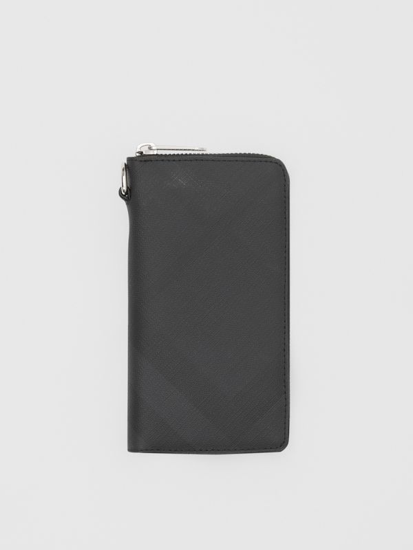 London Check and Leather Phone Wallet in Dark Charcoal - Men | Burberry Hong Kong S.A.R - cell image 2