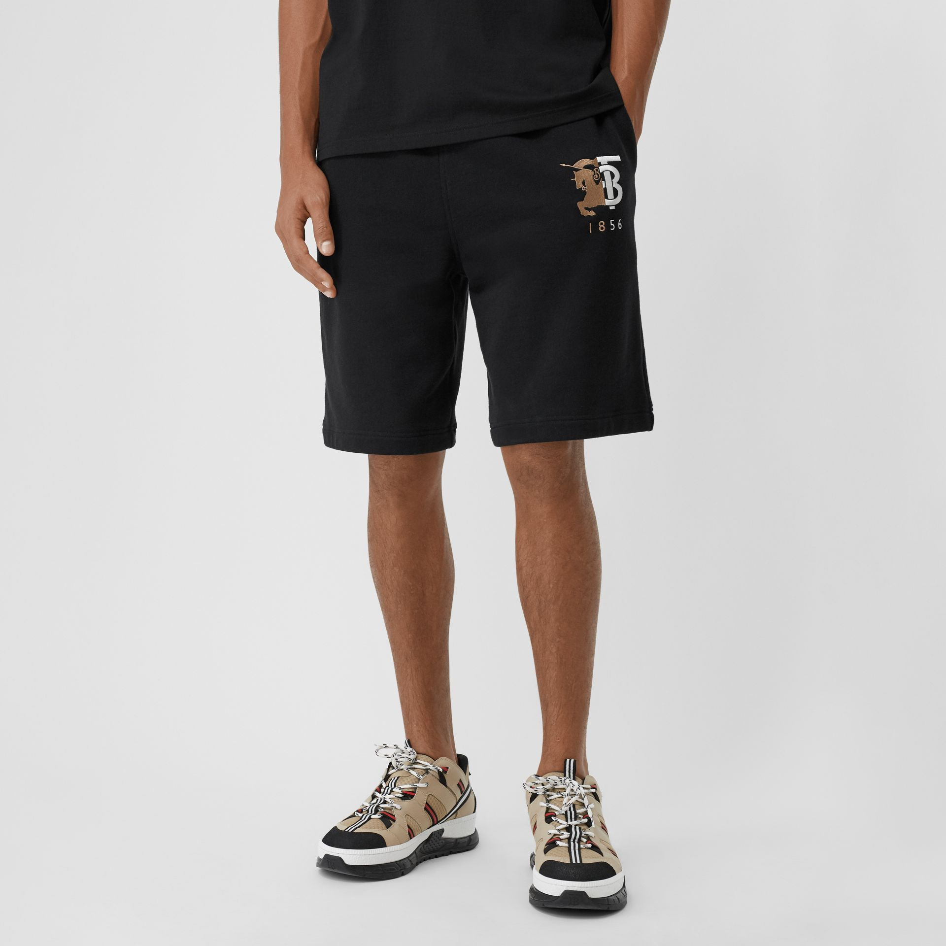 Logo Graphic Cotton Drawcord Shorts in Black - Men | Burberry United Kingdom - gallery image 4