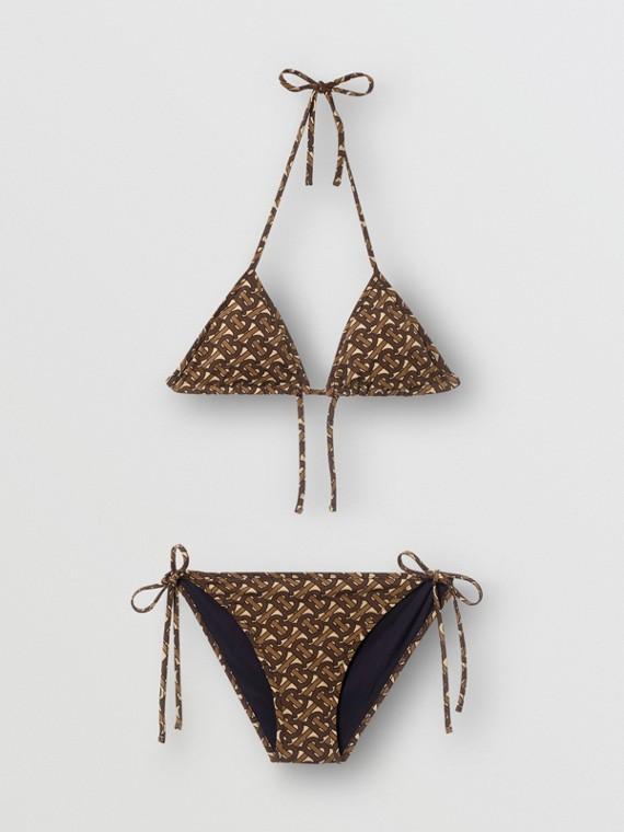 Bikini de triángulo con estampado de monogramas (Marrón)