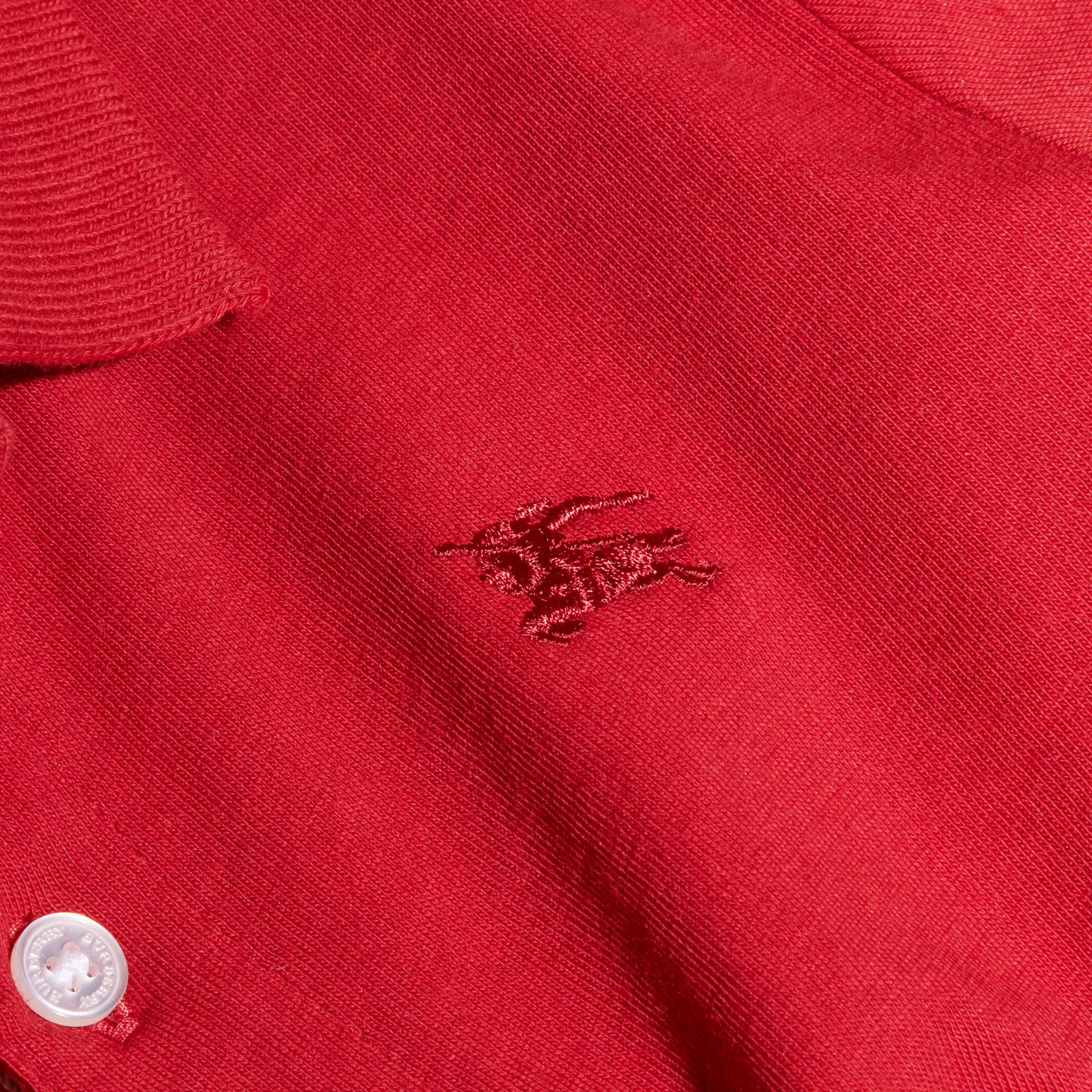 Long-sleeve Cotton Jersey Polo Shirt in Military Red - Boy | Burberry - gallery image 2