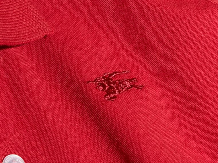 Long-sleeve Cotton Jersey Polo Shirt Military Red - cell image 1
