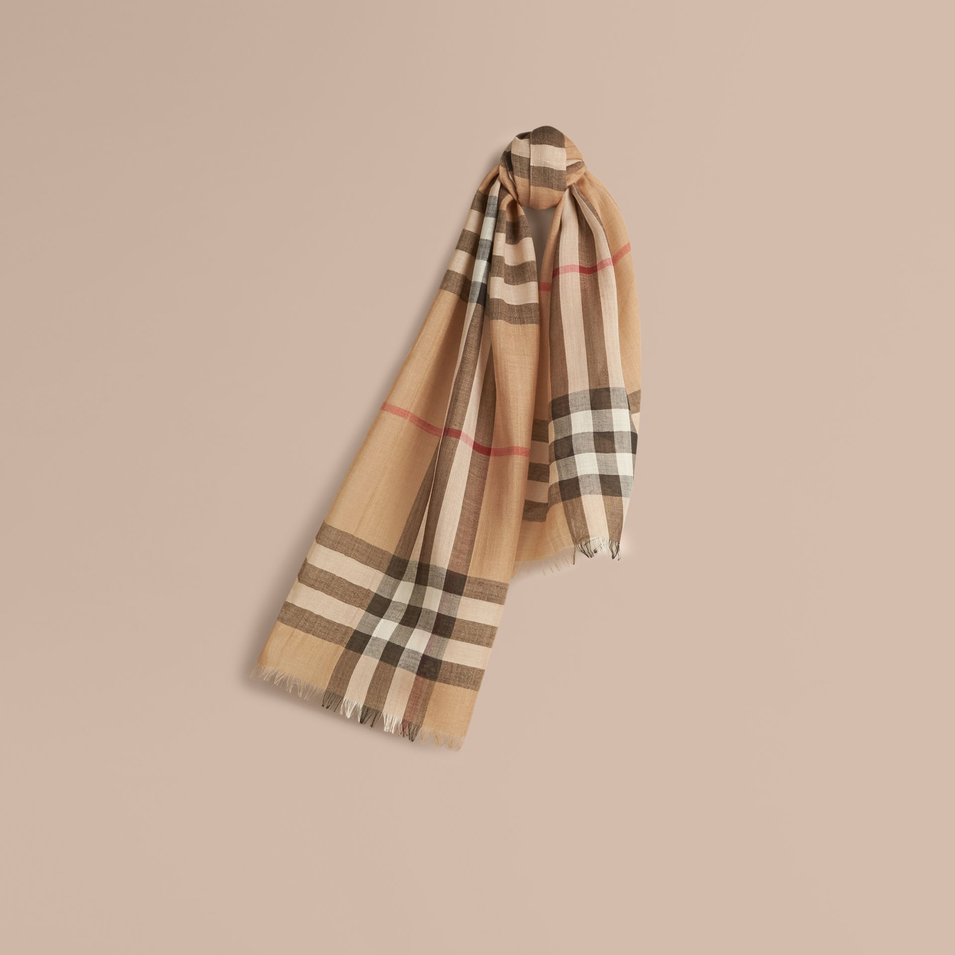 Exploded Check Wool Silk Scarf in Camel | Burberry United States - gallery image 1