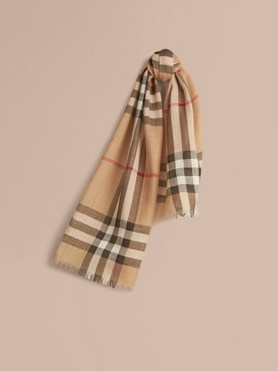 Exploded Check Wool Silk Scarf Camel