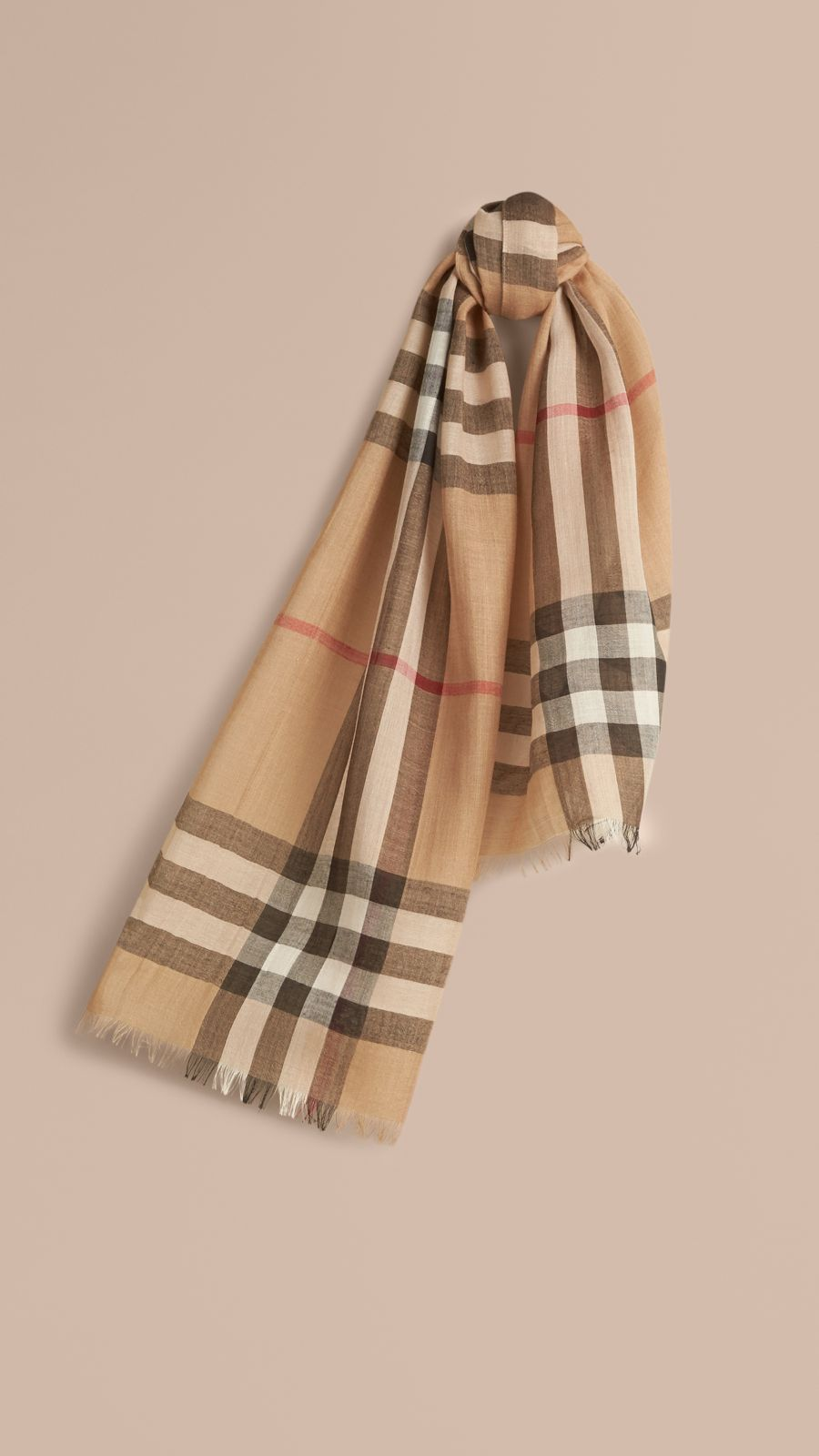 Camel check Exploded Check Wool Silk Scarf - Image 1