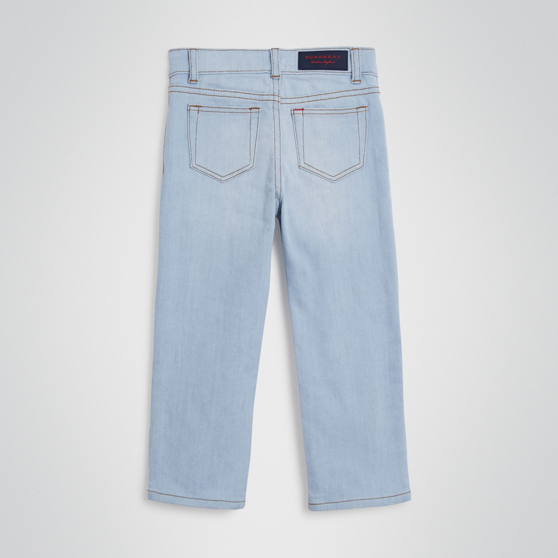 Relaxed Fit Stretch Denim Jeans in Light Blue - Boy | Burberry Australia - gallery image 3
