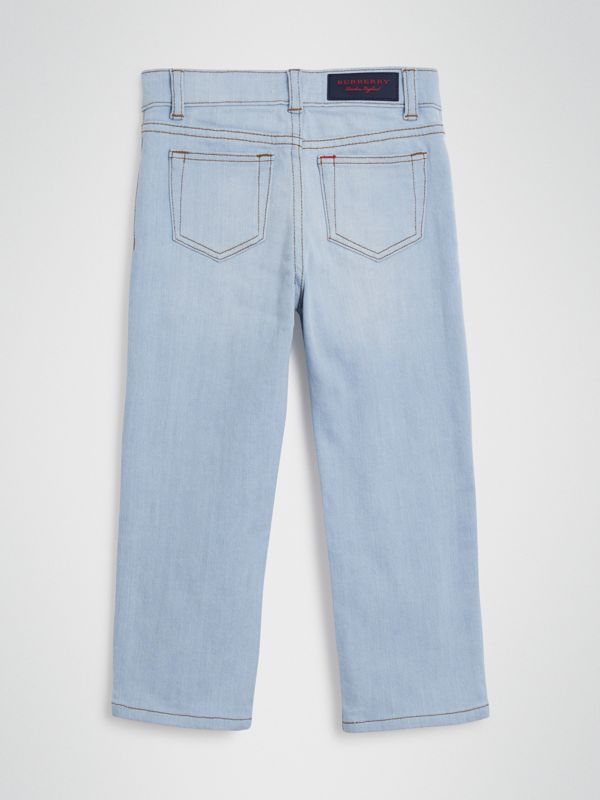Relaxed Fit Stretch Denim Jeans in Light Blue - Boy | Burberry Australia - cell image 3