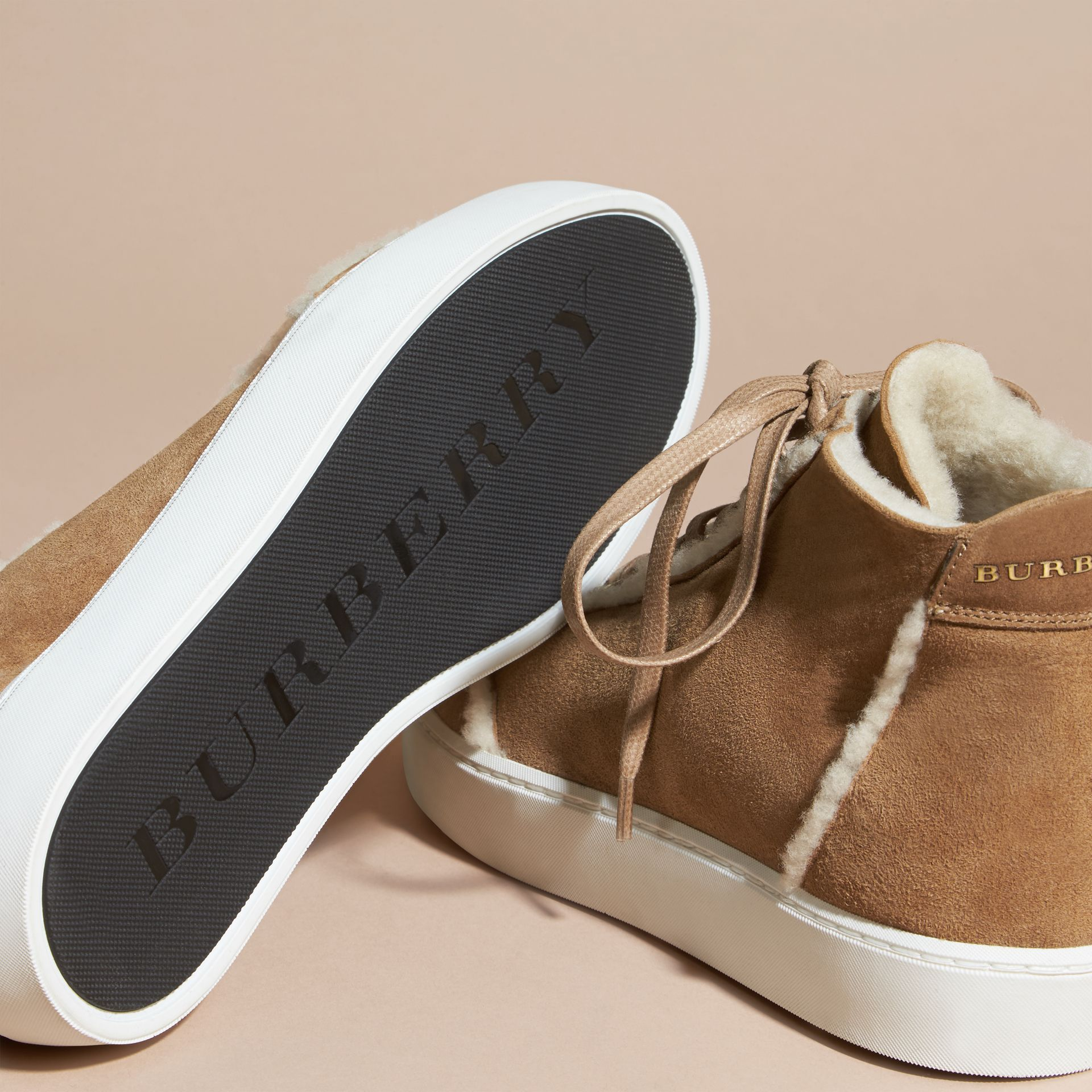 Malt brown Shearling High-top Trainers - gallery image 5