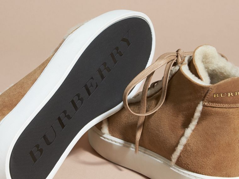 Marrone malto Sneaker alte in shearling - cell image 4