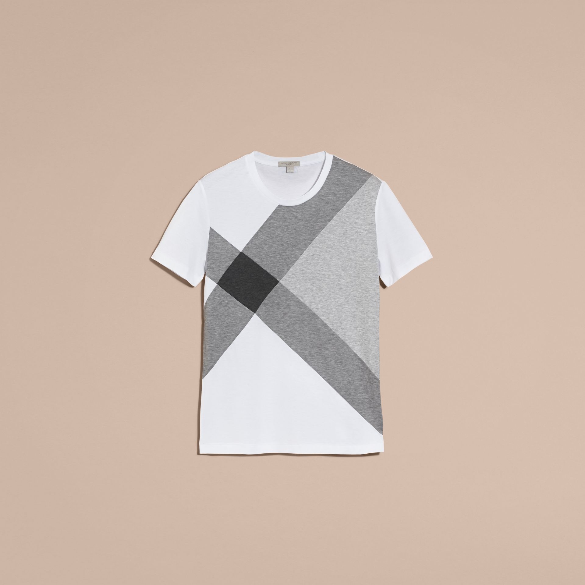 White Exploded Check Print Cotton T-shirt - gallery image 4