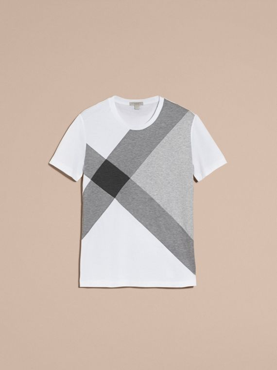 White Exploded Check Print Cotton T-shirt - cell image 3