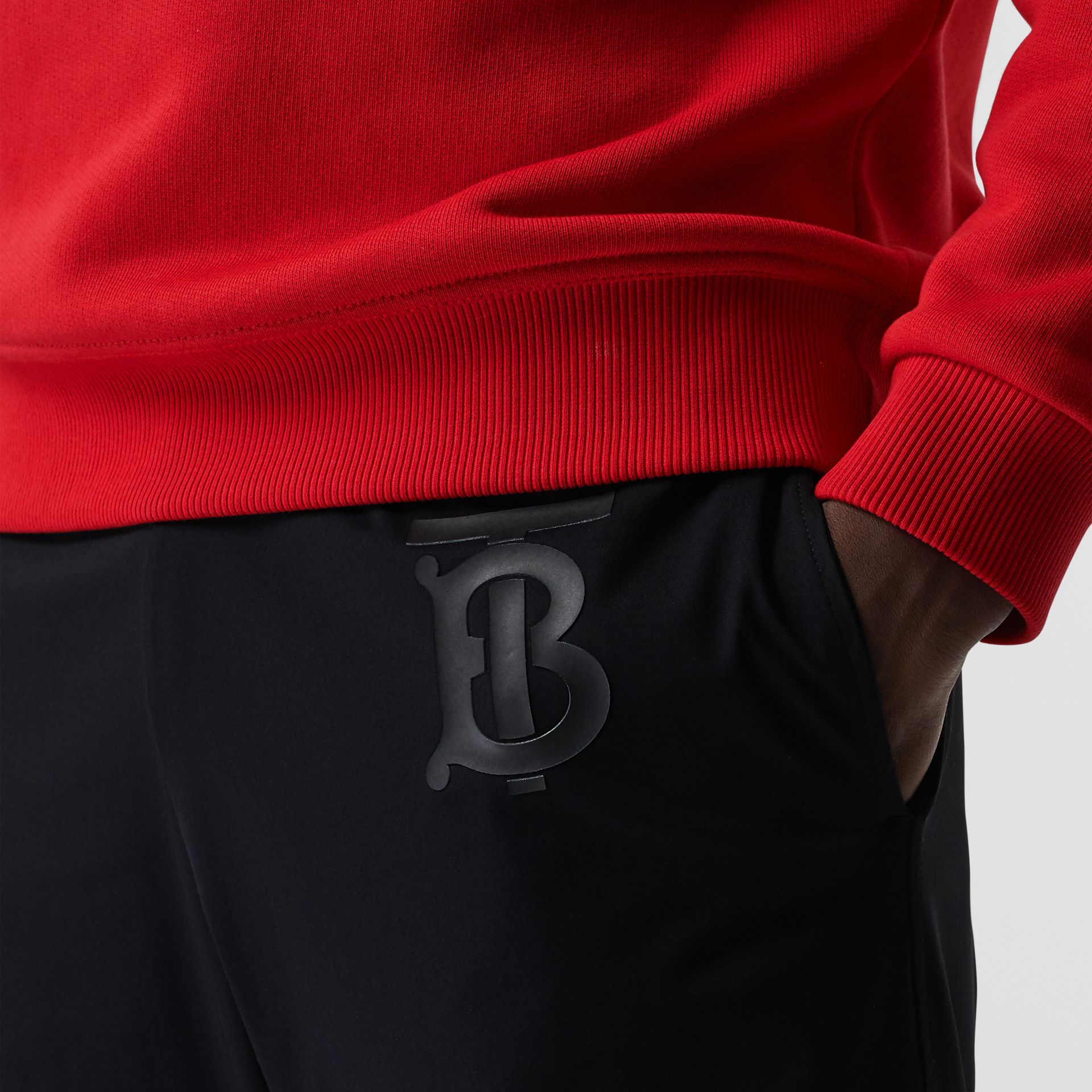 Monogram Motif Jersey Trackpants in Black - Men | Burberry Australia - gallery image 2