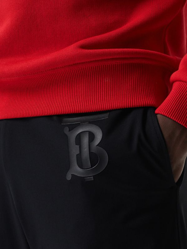 Monogram Motif Jersey Trackpants in Black - Men | Burberry United Kingdom - cell image 2