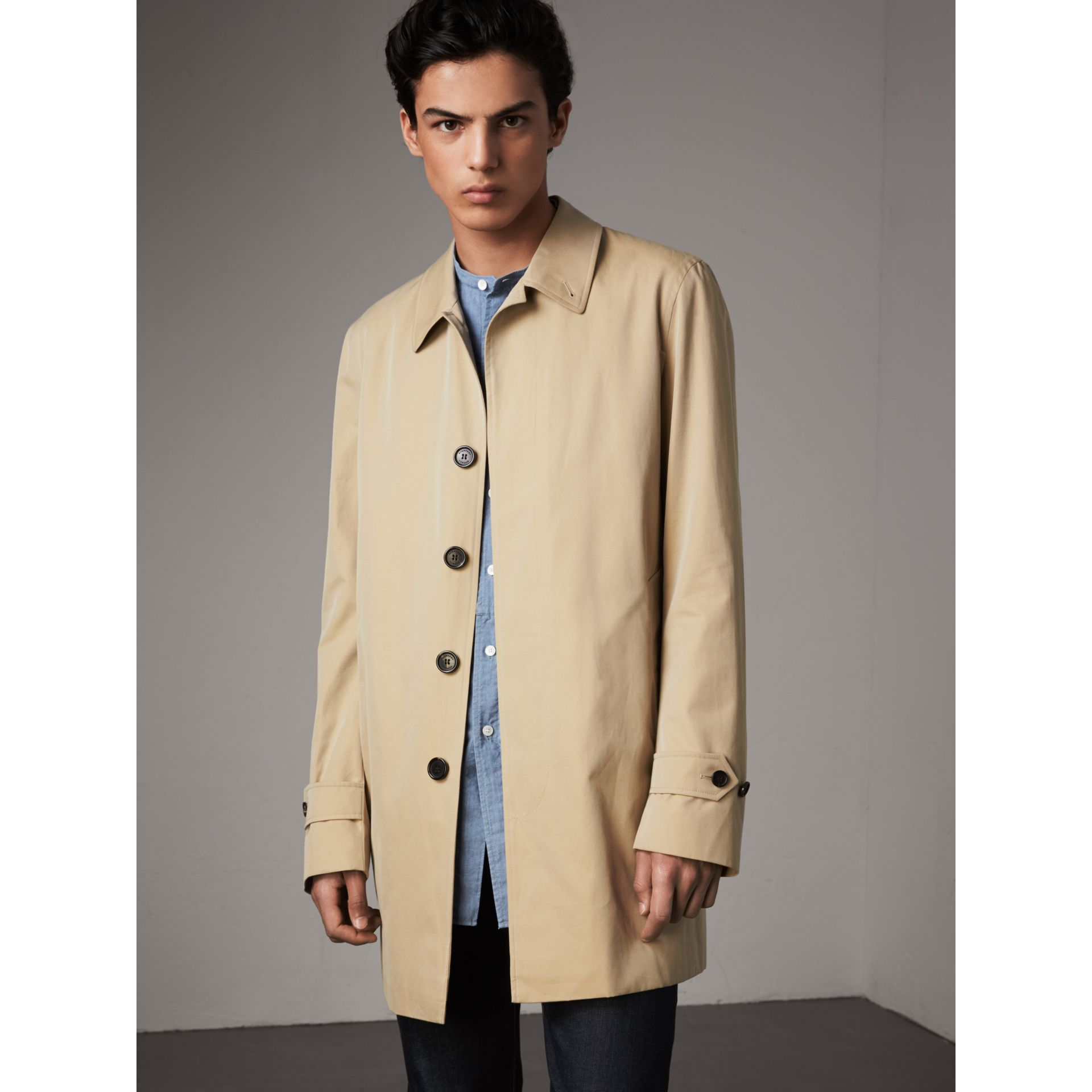 Cotton Gabardine Car Coat in Honey - Men | Burberry - gallery image 1