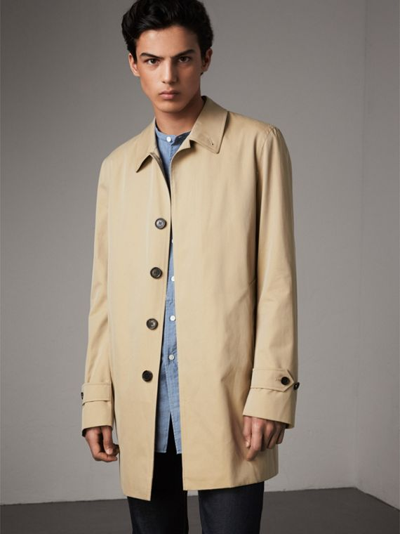 Cotton Gabardine Car Coat in Honey - Men | Burberry Singapore