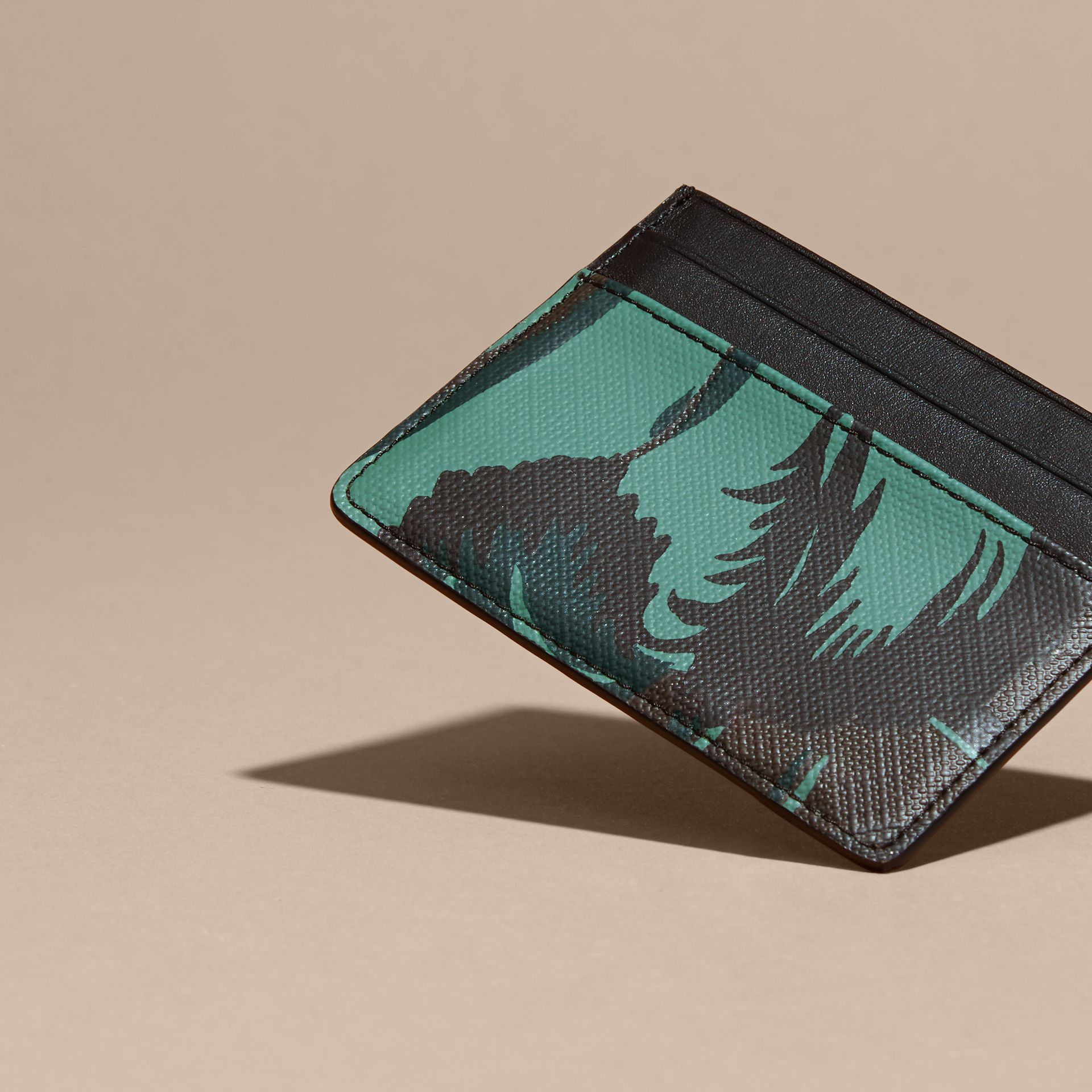 Floral Print London Check Card Case in Chocolate - Men | Burberry - gallery image 4