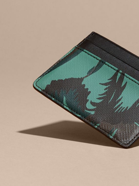 Floral Print London Check Card Case in Chocolate - Men | Burberry - cell image 3