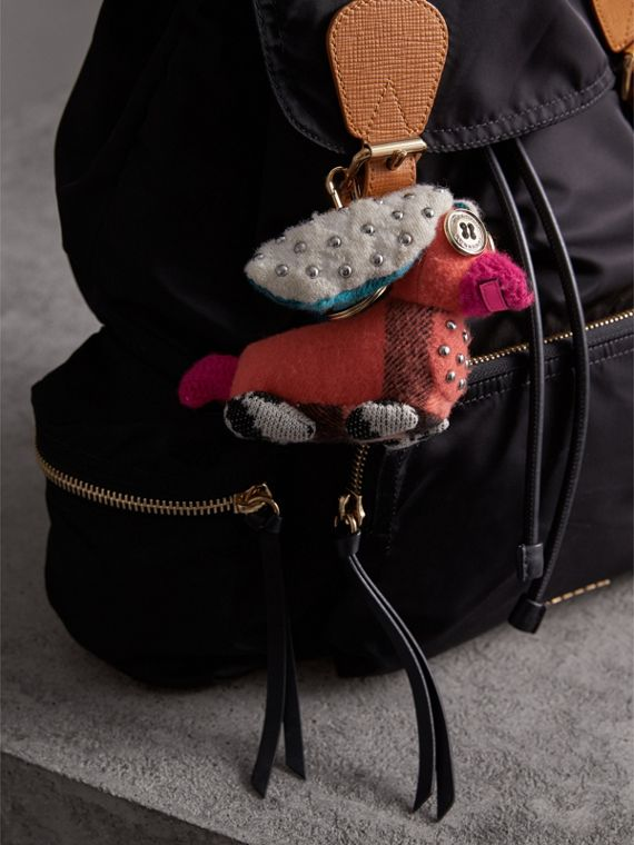 Gareth The Spaniel Knitted Charm in Coral Multicolour | Burberry - cell image 2