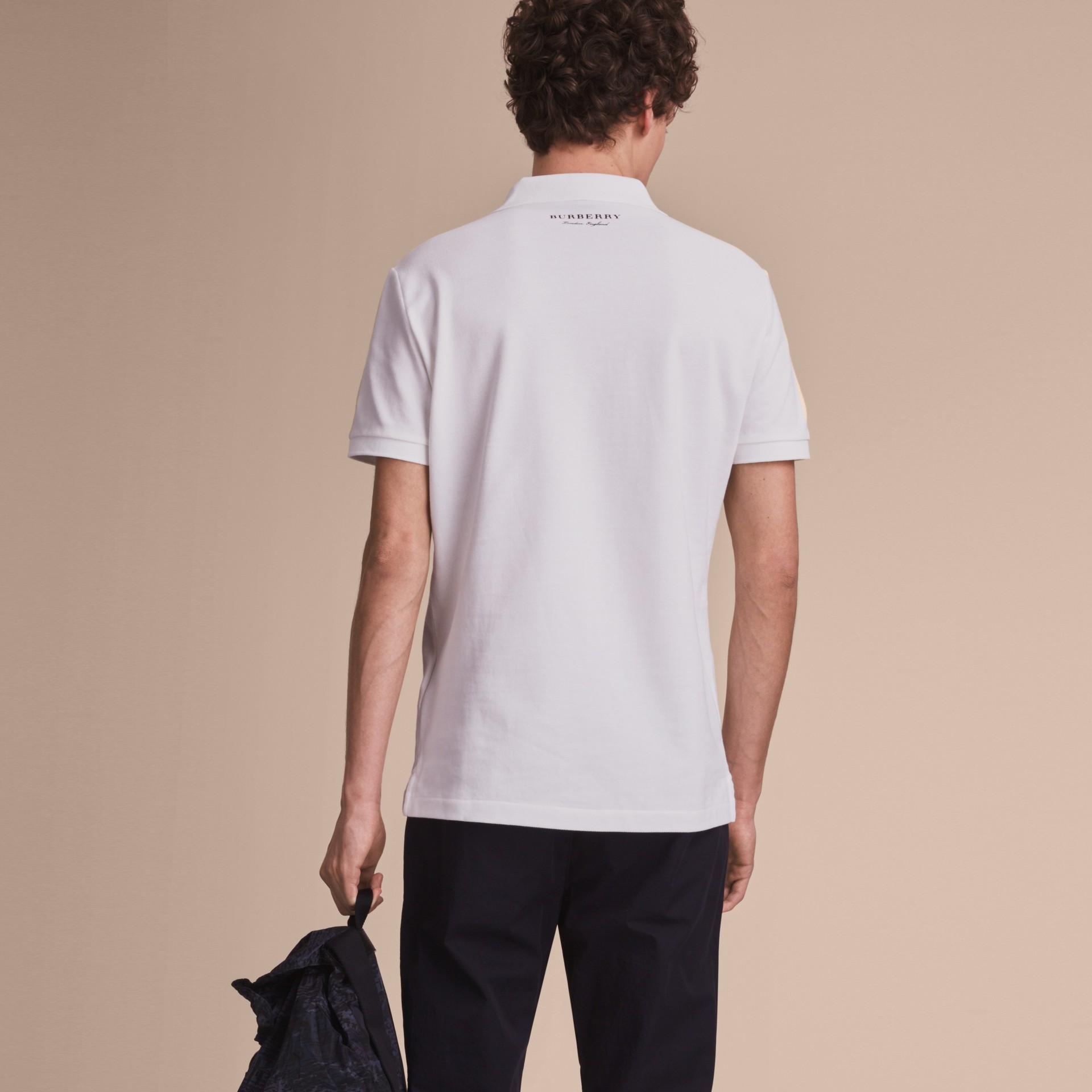 Weather Appliqué Cotton Piqué Polo Shirt White - gallery image 3