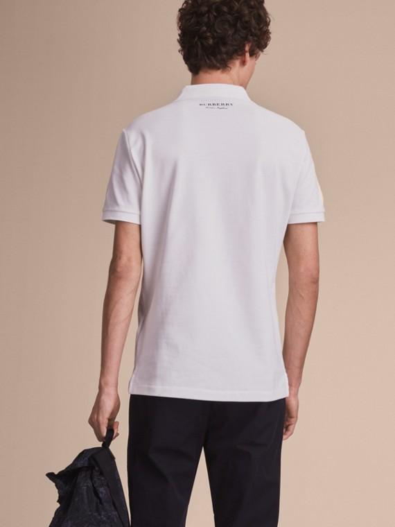 Weather Appliqué Cotton Piqué Polo Shirt White - cell image 2
