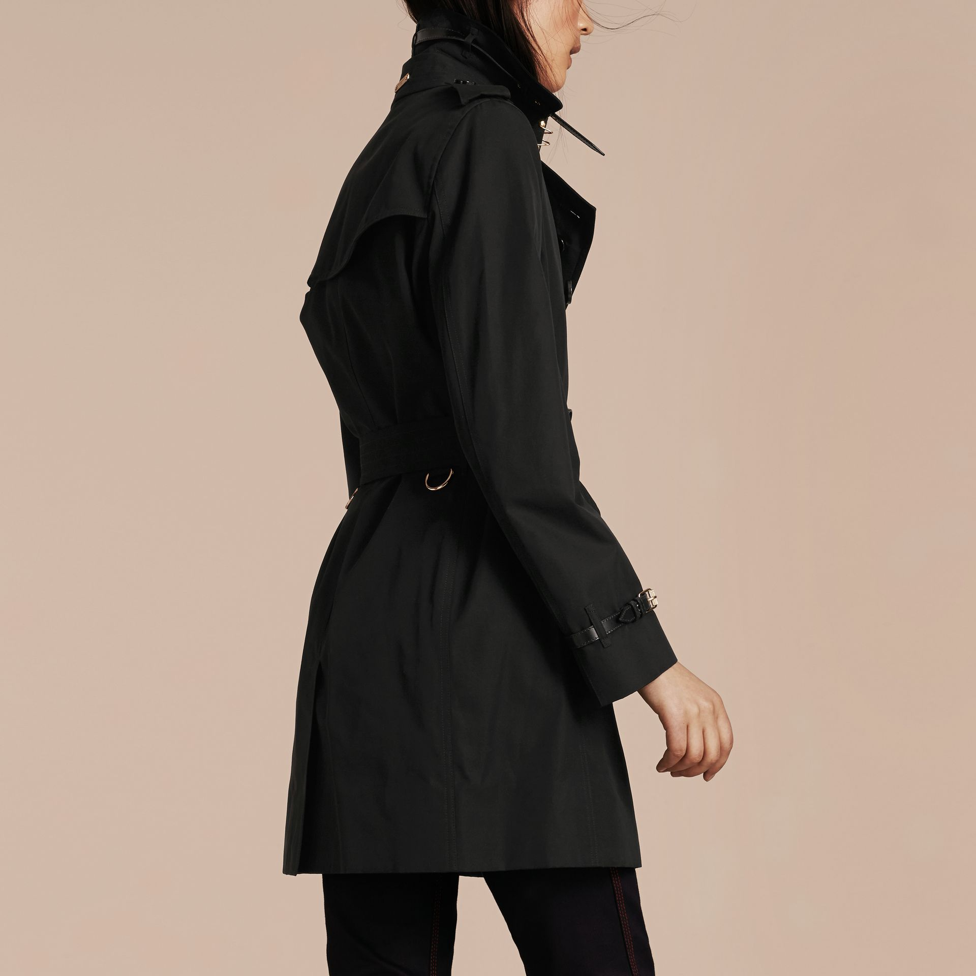 Black Leather Detail Cotton Gabardine Trench Coat Black - gallery image 3