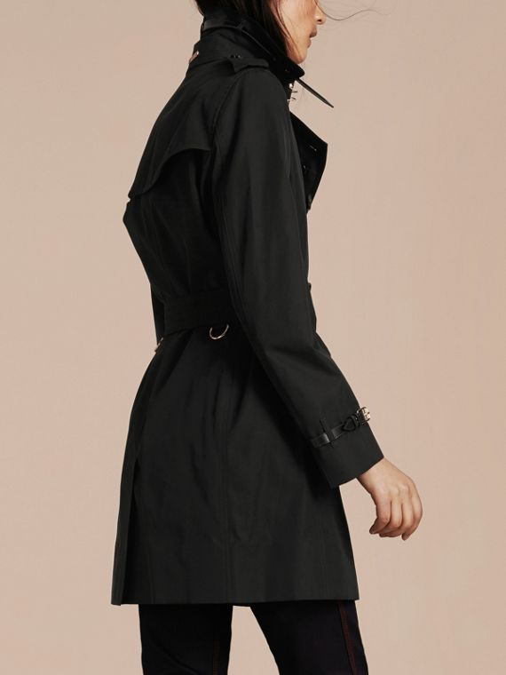 Black Leather Detail Cotton Gabardine Trench Coat Black - cell image 2