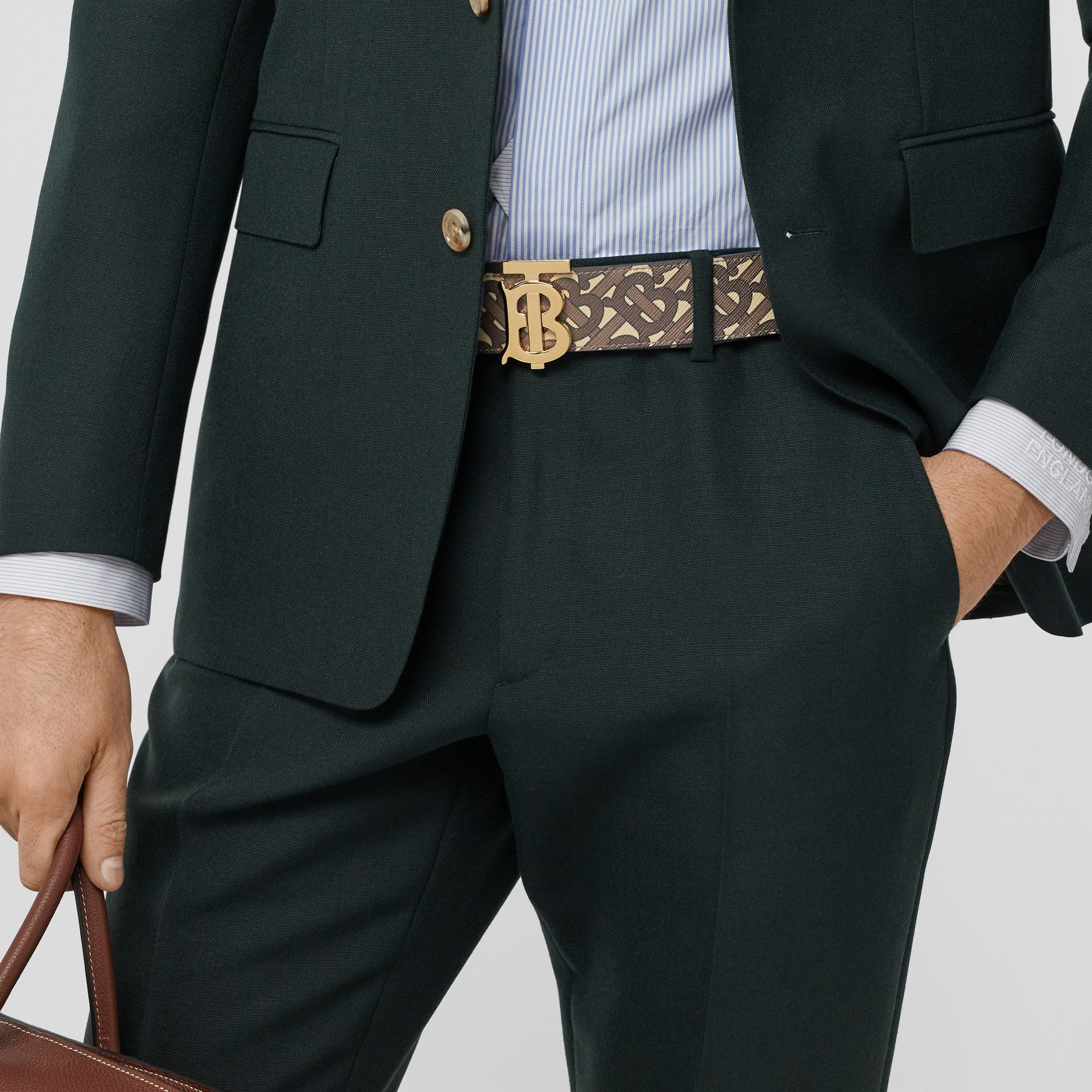 Reversible Monogram E-canvas and Leather Belt in Bridle Brown - Men | Burberry United Kingdom - gallery image 2