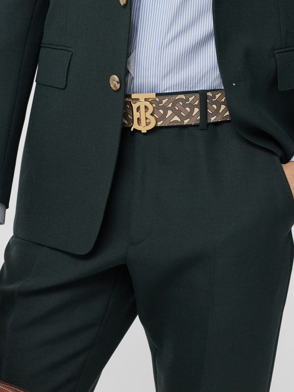 Reversible Monogram E-canvas and Leather Belt in Bridle Brown - Men | Burberry United Kingdom - cell image 2