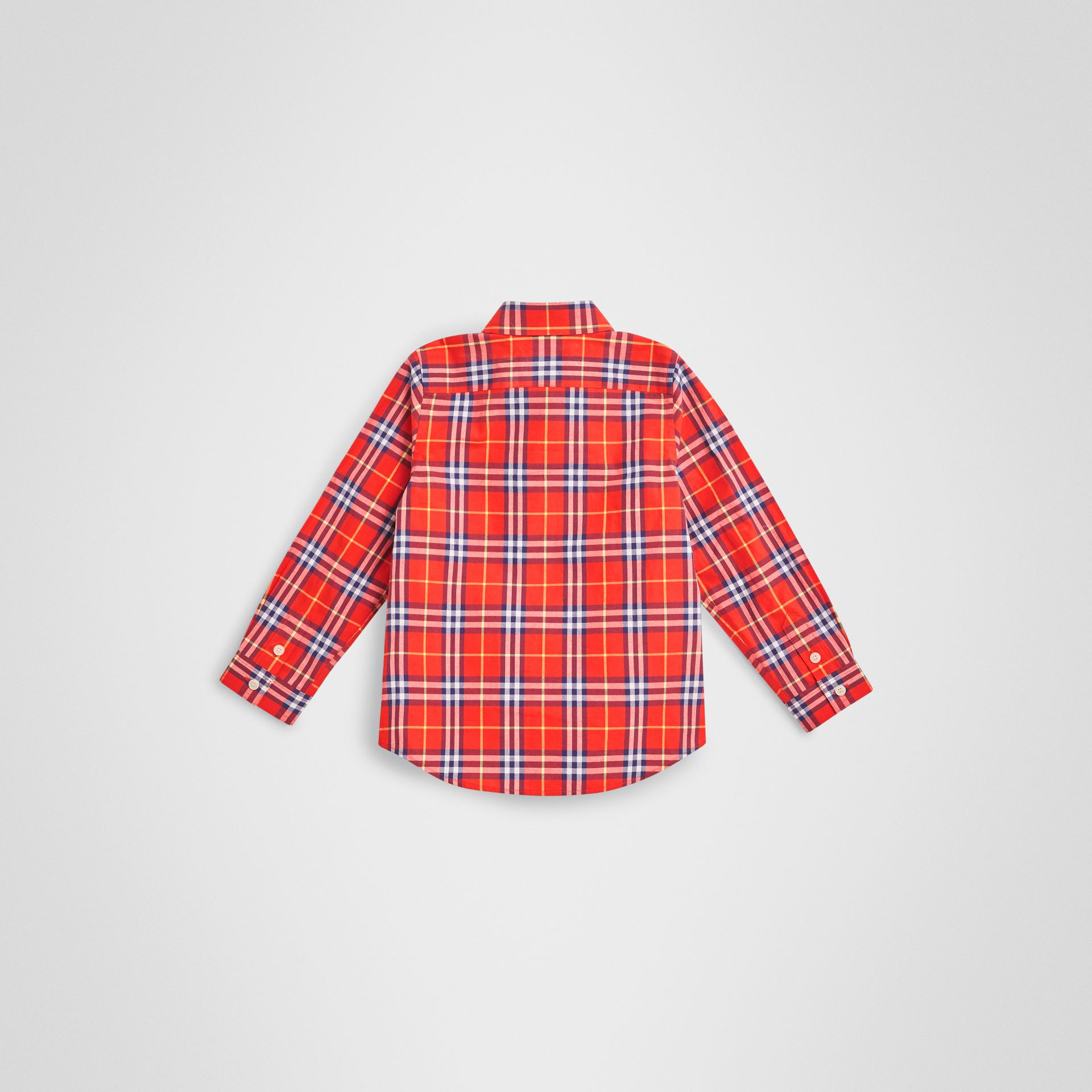 Button-down Collar Check Flannel Shirt in Orange Red - Boy | Burberry - gallery image 3