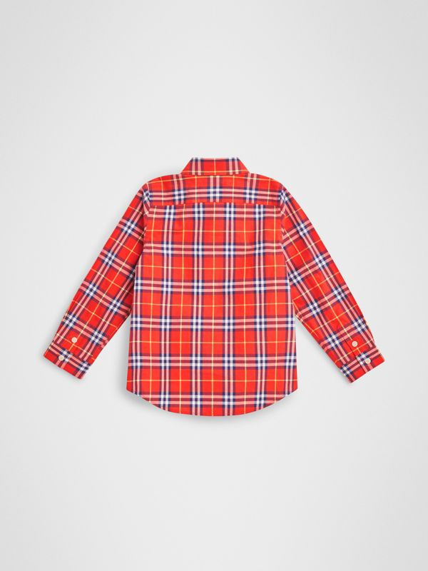Button-down Collar Check Flannel Shirt in Orange Red | Burberry Hong Kong - cell image 3