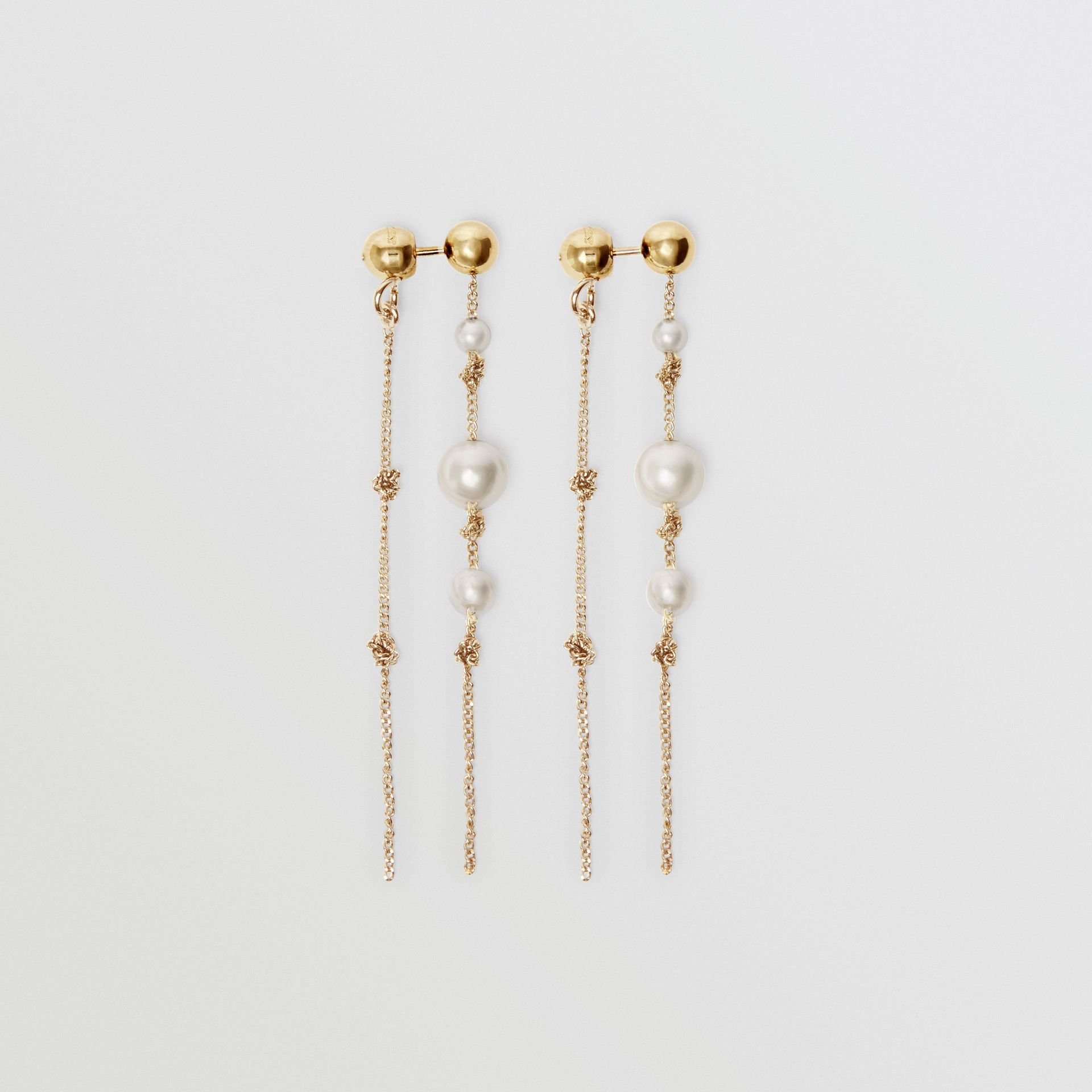 Faux Pearl Gold-plated Drop Earrings in Light - Women | Burberry United States - gallery image 0