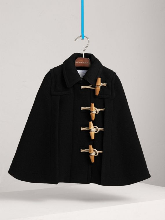 Wool Blend Duffle Cape in Black | Burberry Australia - cell image 2