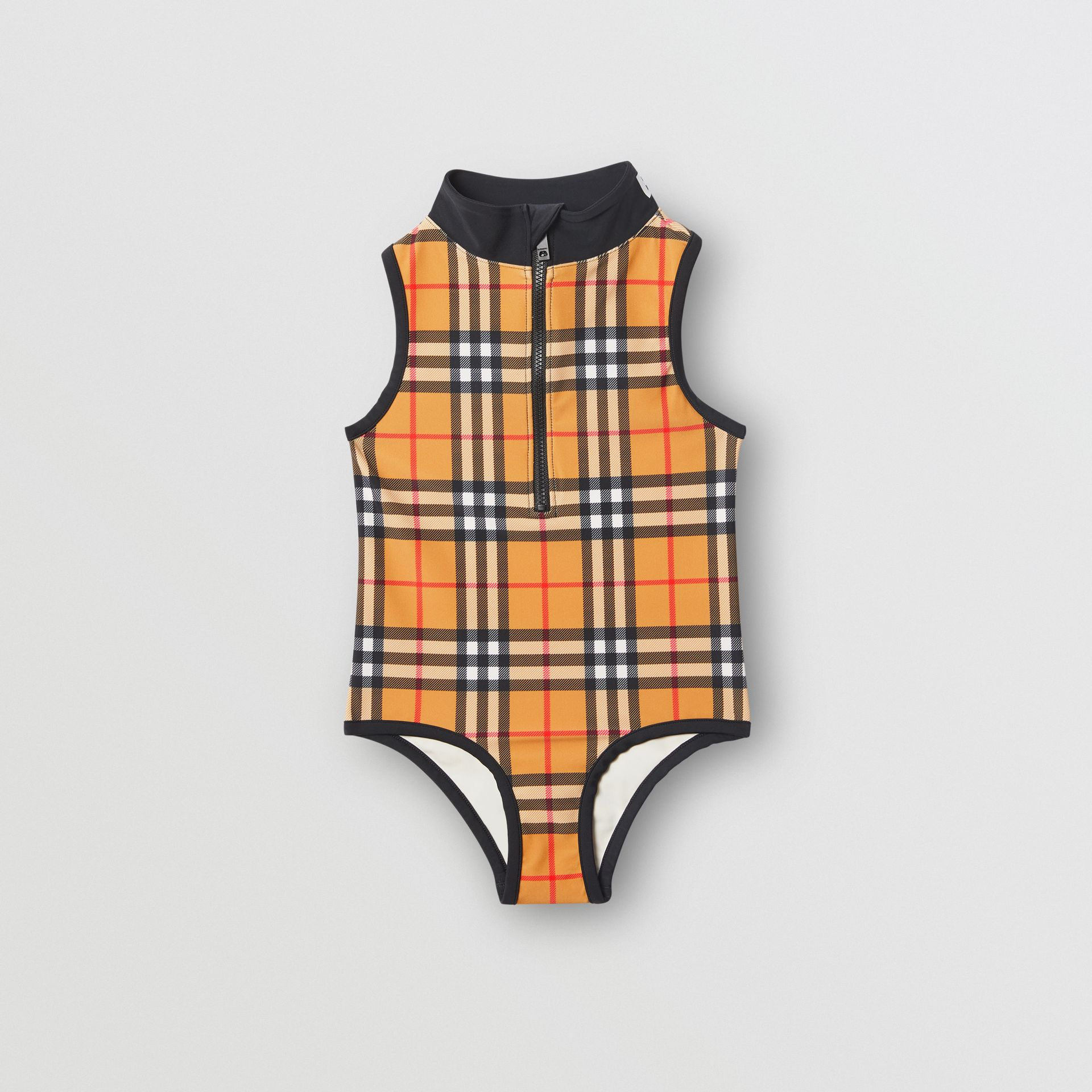Logo Detail Vintage Check One-piece Swimsuit in Antique Yellow | Burberry United Kingdom - gallery image 0
