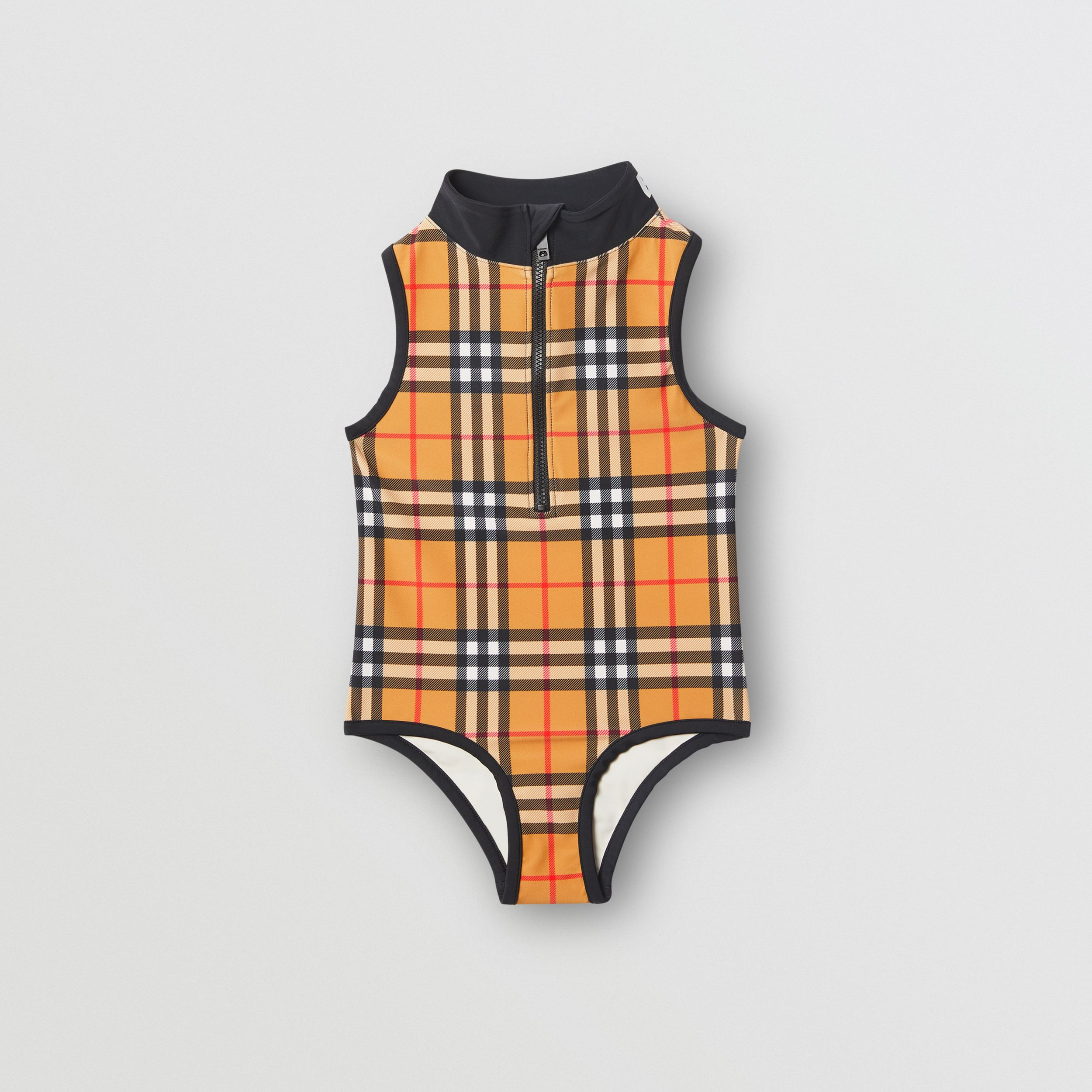 Logo Detail Vintage Check One-piece Swimsuit in Antique Yellow | Burberry - 1