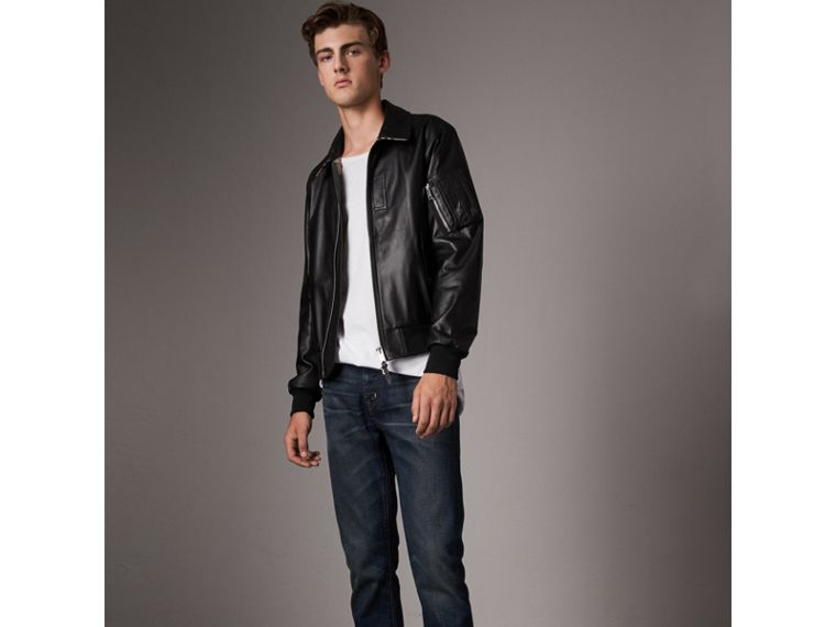 Point Collar Lambskin Bomber Jacket in Black - Men | Burberry United Kingdom - cell image 4