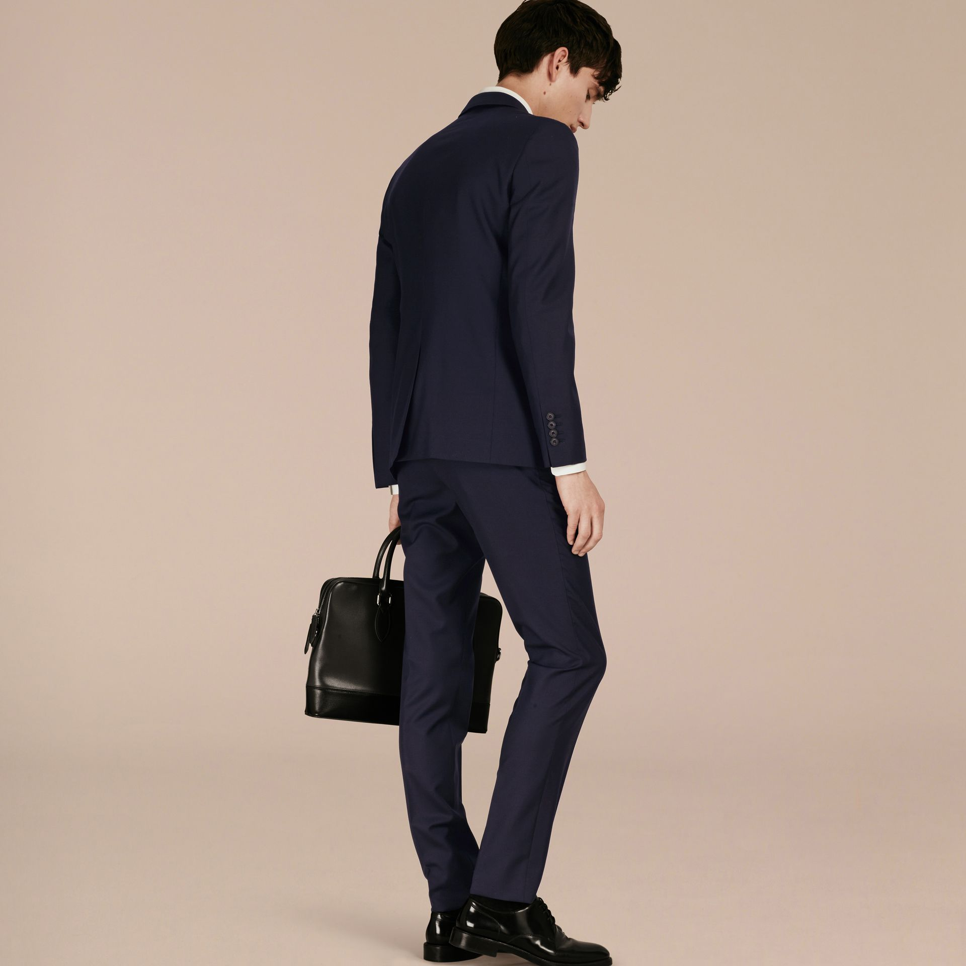 Slim Fit Wool Part-canvas Suit in Navy - Men | Burberry Hong Kong - gallery image 3