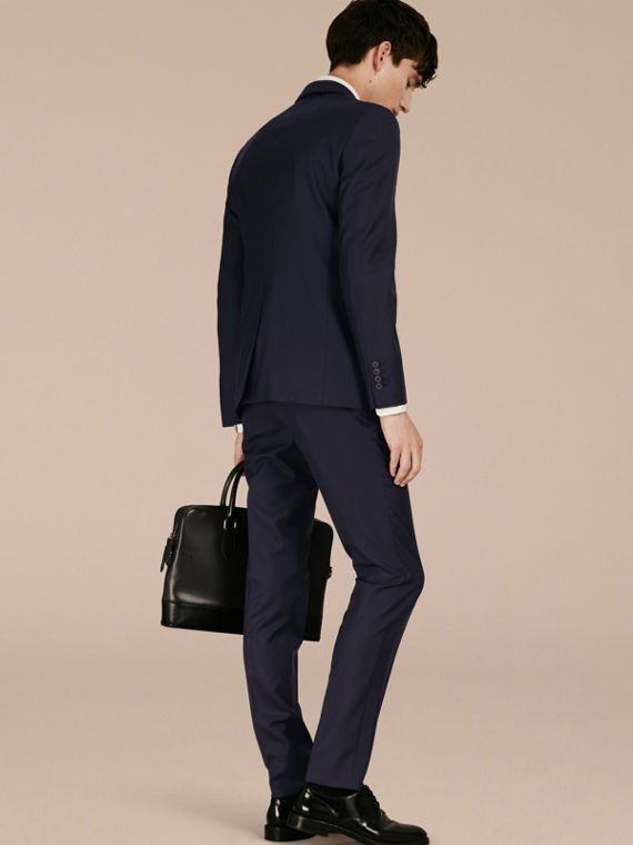 Slim Fit Wool Part-canvas Suit in Navy - Men | Burberry - cell image 2