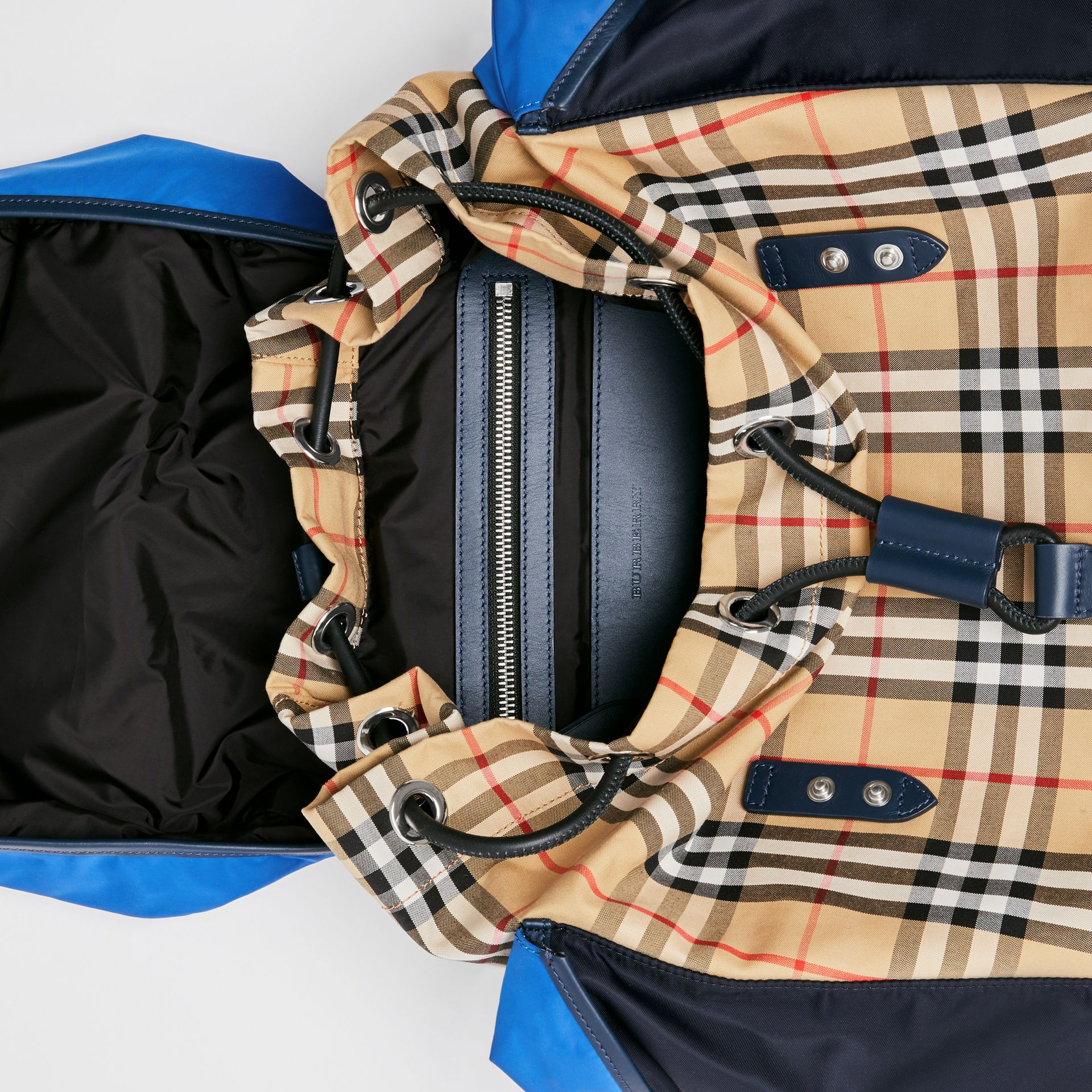 Colour Block Vintage Check and Leather Backpack in Navy - Men | Burberry United States - gallery image 5