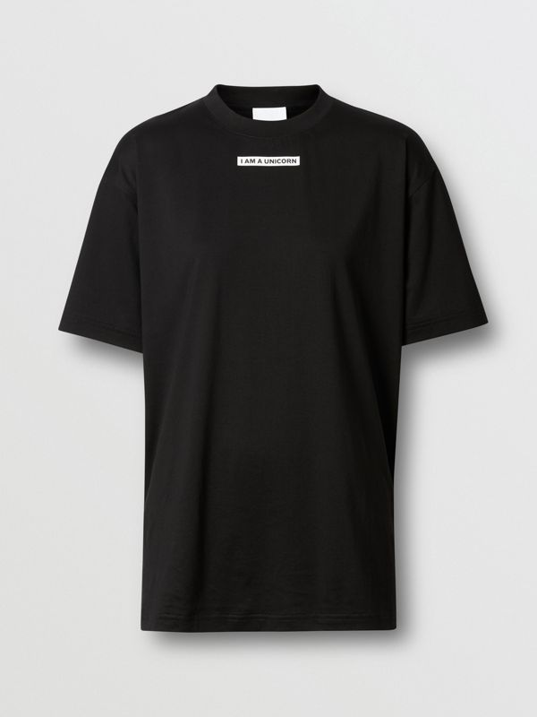 Unicorn Print Cotton Oversized T-shirt in Black - Women | Burberry - cell image 3