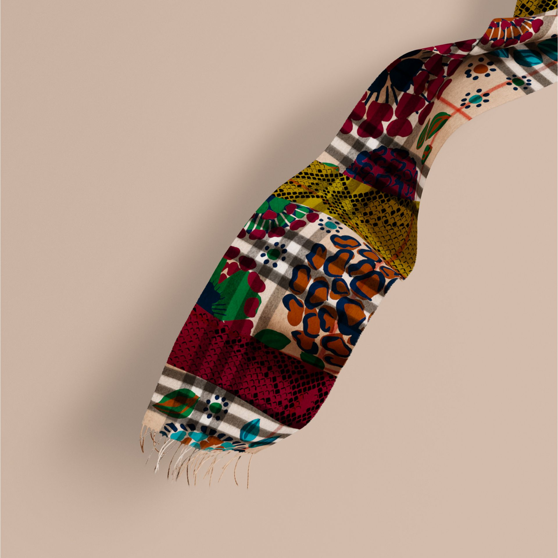 Multicolour The Classic Cashmere Scarf in Check with Patchwork Print - gallery image 1
