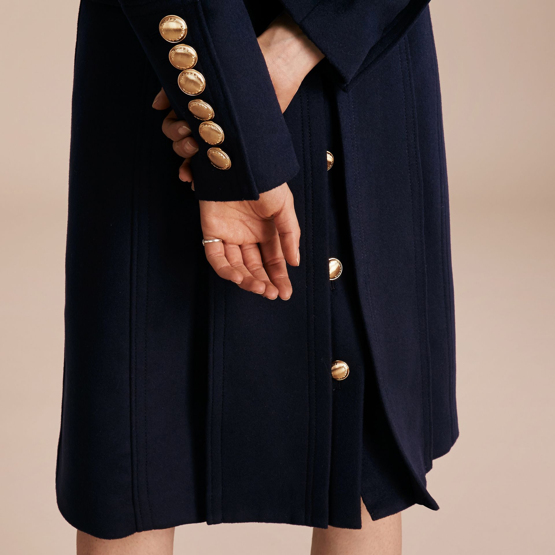 Navy Wool Cashmere Trench Coat with Detachable Fur Collar - gallery image 5