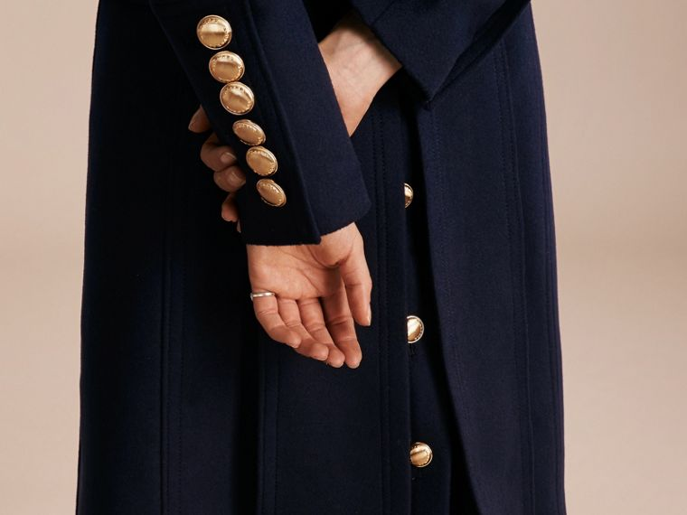 Navy Wool Cashmere Trench Coat with Detachable Fur Collar - cell image 4