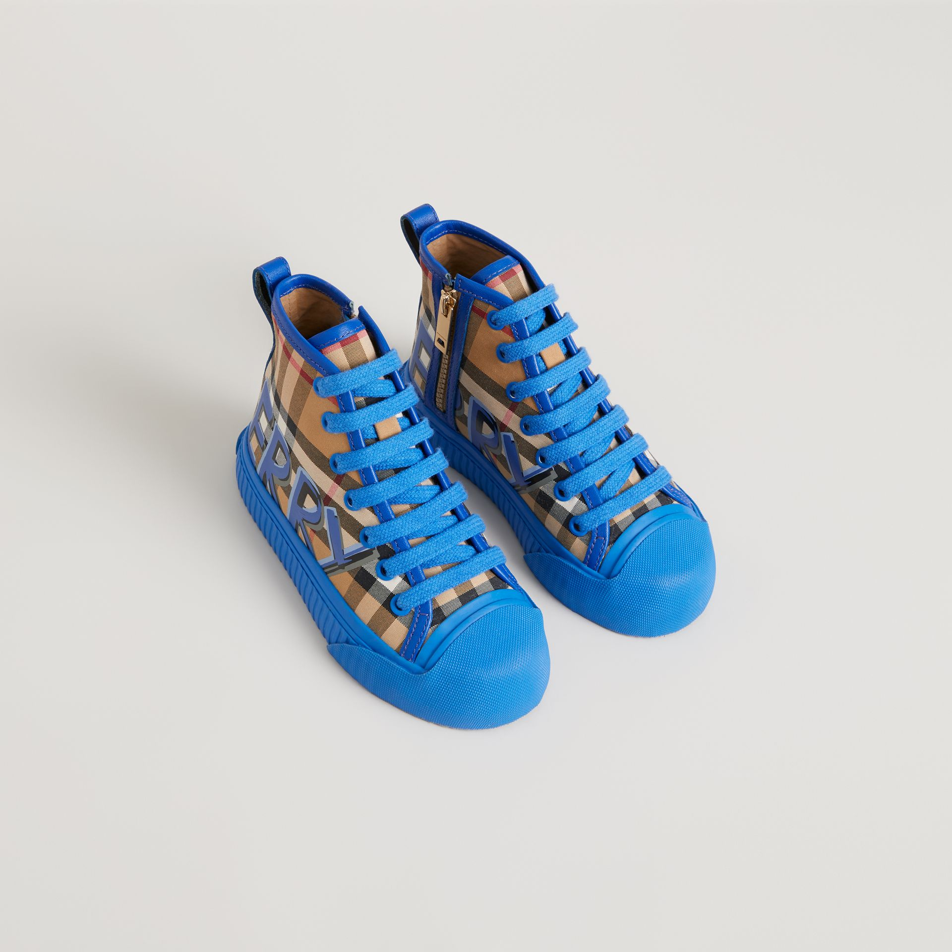Graffiti Vintage Check High-top Sneakers in Bright Sky Blue | Burberry - gallery image 0