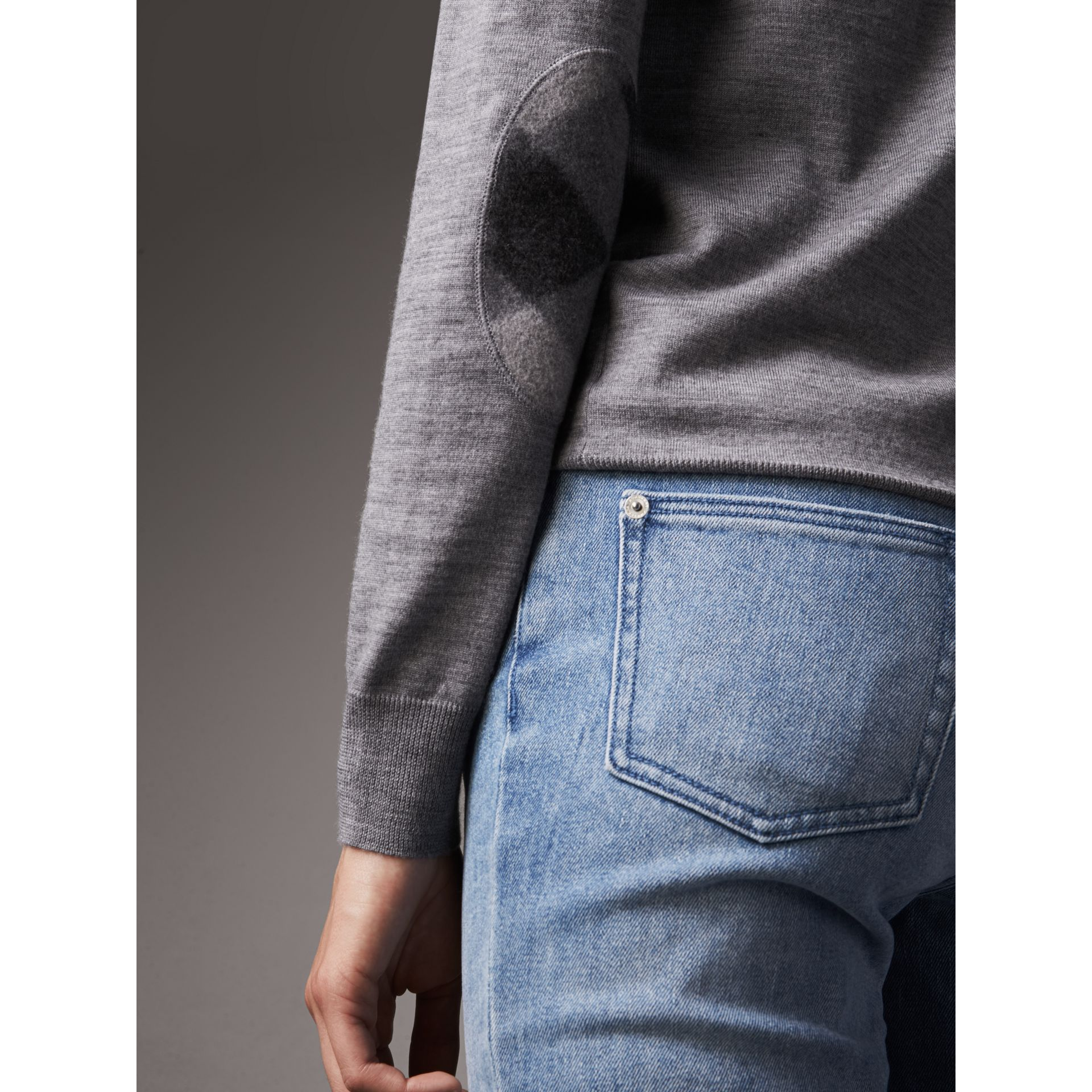 Check Detail Merino Wool Cardigan in Mid Grey Melange - Women | Burberry Hong Kong - gallery image 1