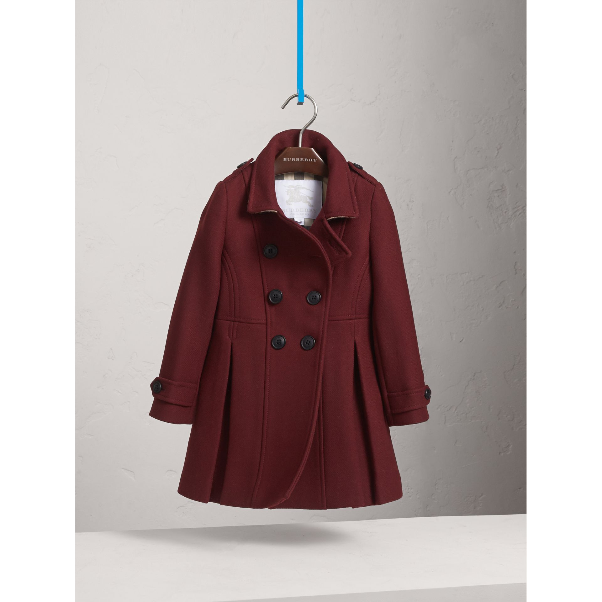 Technical Wool Cashmere Double-Breasted Coat in Garnet - Girl | Burberry - gallery image 2