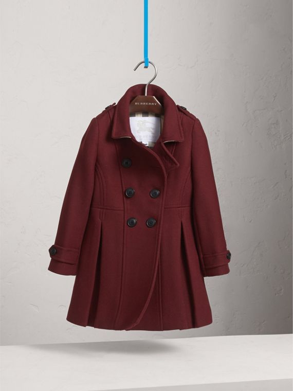 Technical Wool Cashmere Double-Breasted Coat in Garnet - Girl | Burberry - cell image 2