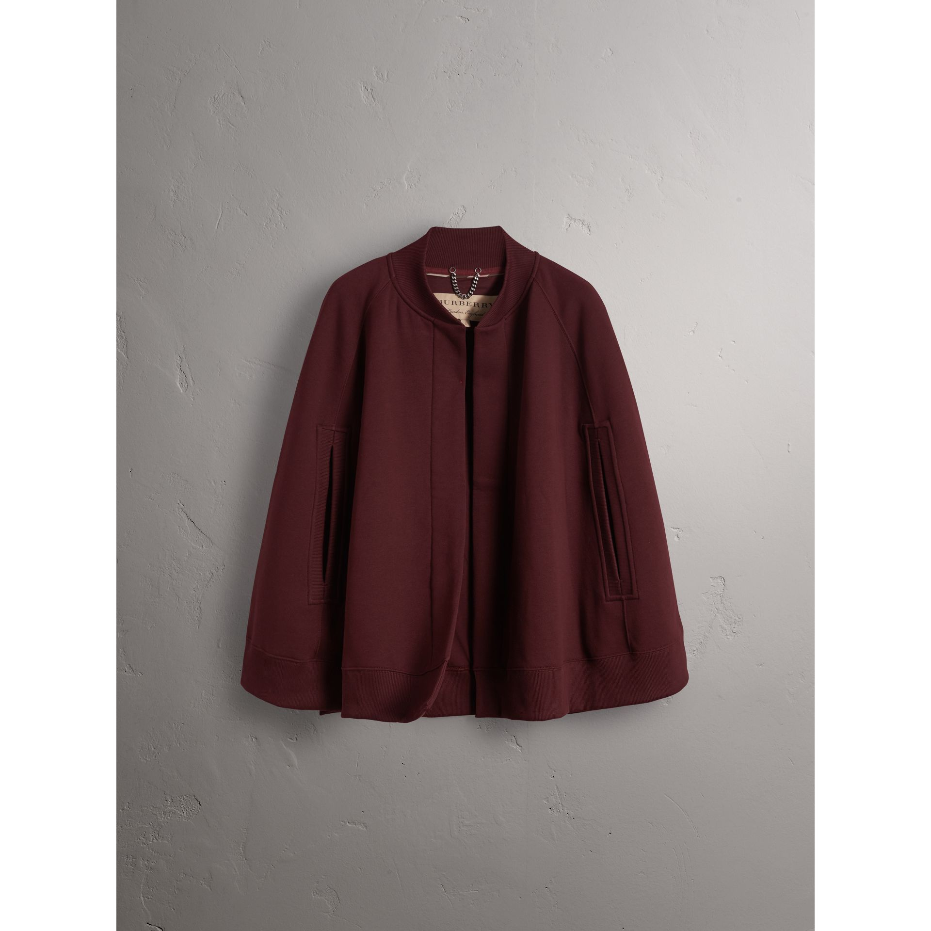 Embroidered Jersey Cape in Deep Claret - Women | Burberry - gallery image 4