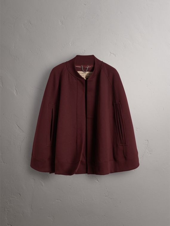 Embroidered Jersey Cape in Deep Claret - Women | Burberry - cell image 3