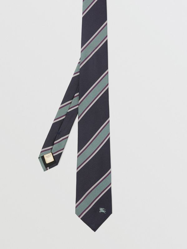Modern Cut Striped Silk Jacquard Tie in Dark Indigo Blue - Men | Burberry - cell image 3