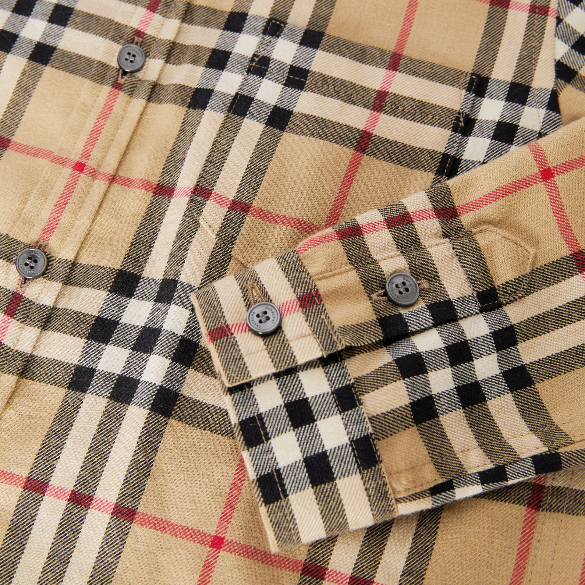 Vintage Check Cotton Flannel Shirt in Archive Beige | Burberry Australia - gallery image 1